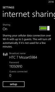 Tethering WiFi en HTC 7 y Mozart