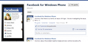 Facebook for Windows Phone Error