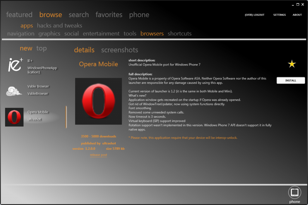 Browse Opera