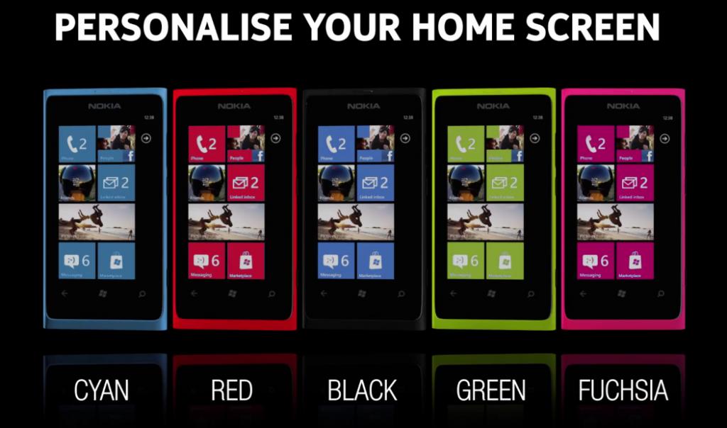 lumia 800 gama de colores