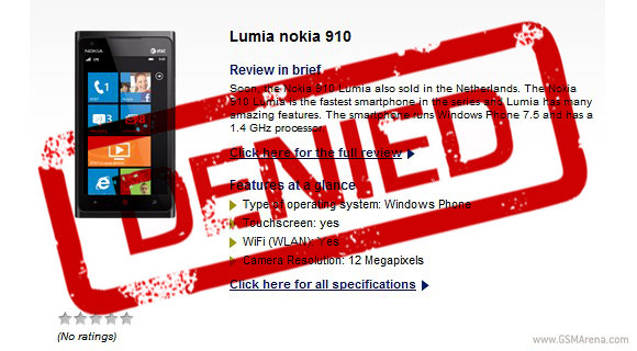 nokia 910 denied camara 12mp