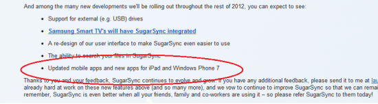 Aplicación oficial SugarSync para Windows Phone en 2012
