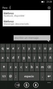 Metodo 2 - Enviar mensajes a usuario desconectado en Facebook o Messenger con Windows Phone