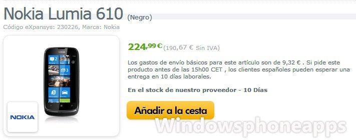 Nokia Lumia 610 a la venta en España