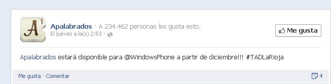 Apalabrados para Windows Phone listo para diciembre