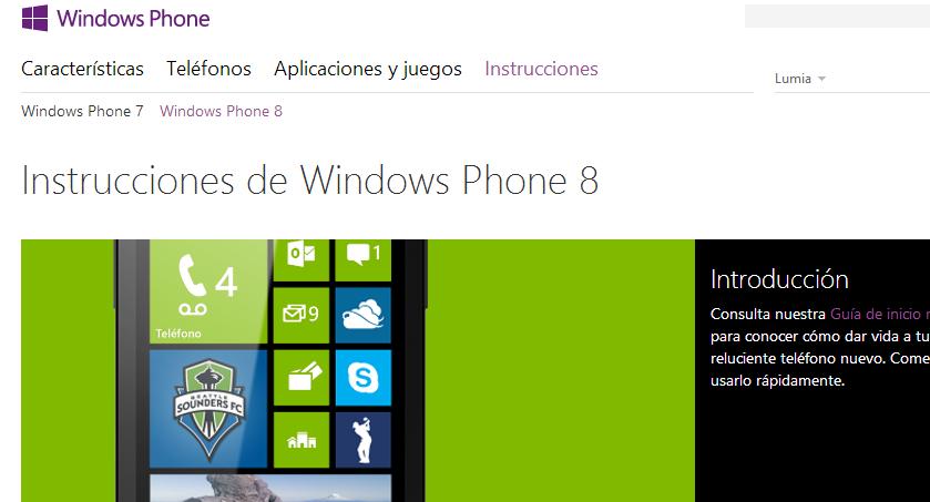 Instrucciones de Windows Phone 8