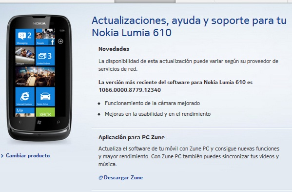 lumia 610 actualizacion