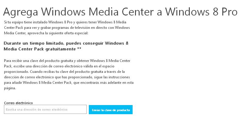 Consigue un Windows 8 Media Center Pack gratis