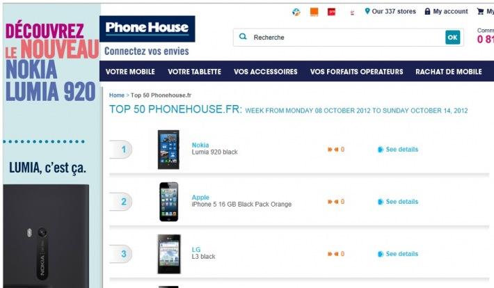 Lumia 920 Nº 1 en Thephonehouse.fr