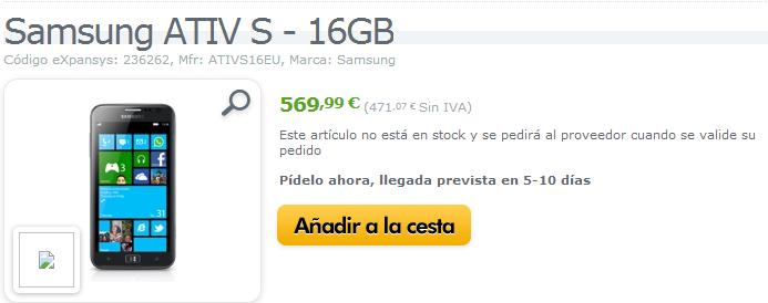 Samsung ATIV S 16GB y HTC 8S ya a la venta en Expansys