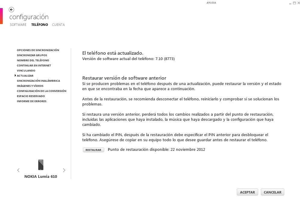 Nokia Lumia 610 WP78 No disponible