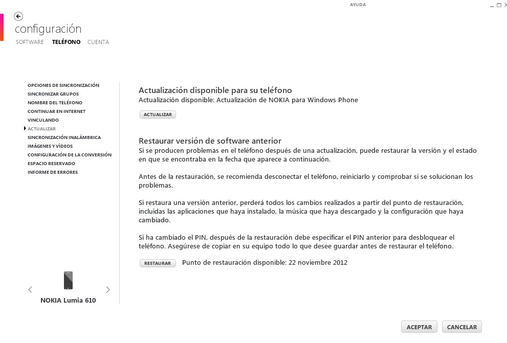 Nokia Lumia 610 Actualización WP7.8 disponible