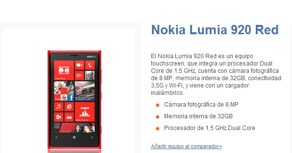 Nokia Lumia 920 con Entel