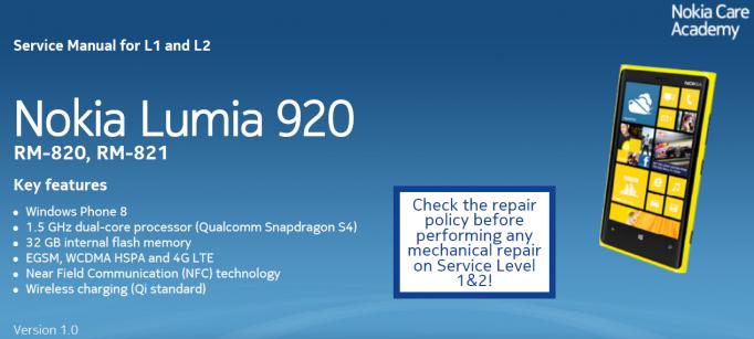 Nokia Lumia 920 Manual de servicio