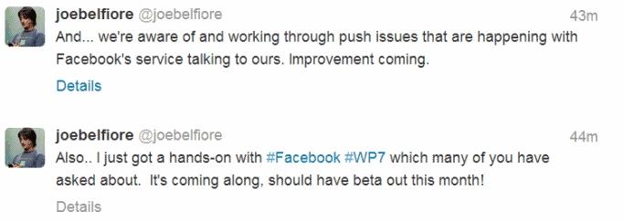Joe belfiore confirma que pronto tendremos Facebook Beta para WP7