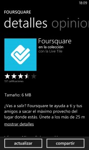 FourSquare se actualiza para Windows Phone
