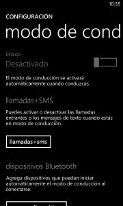 Modo de Conducción en Windows Phone 8