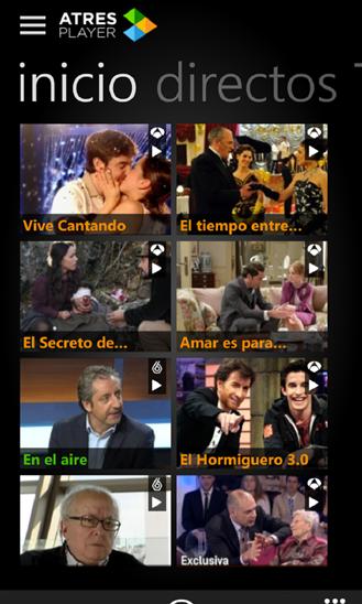 ATresPlayer para Windows Phone, disfruta de los canales de TV y Radio del grupo ATresMedia