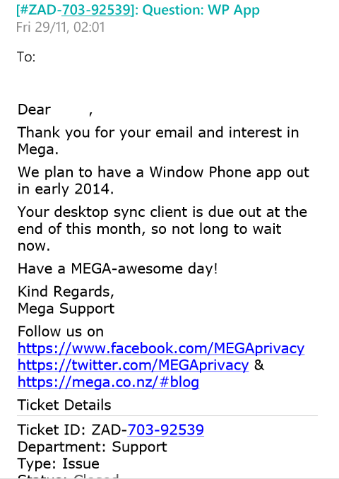 Mega WIndows Phone