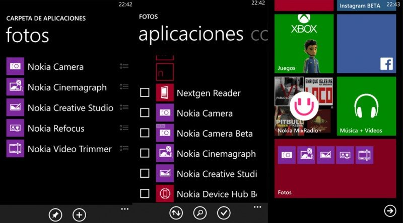 Carpeta de Aplicaciones de Nokia