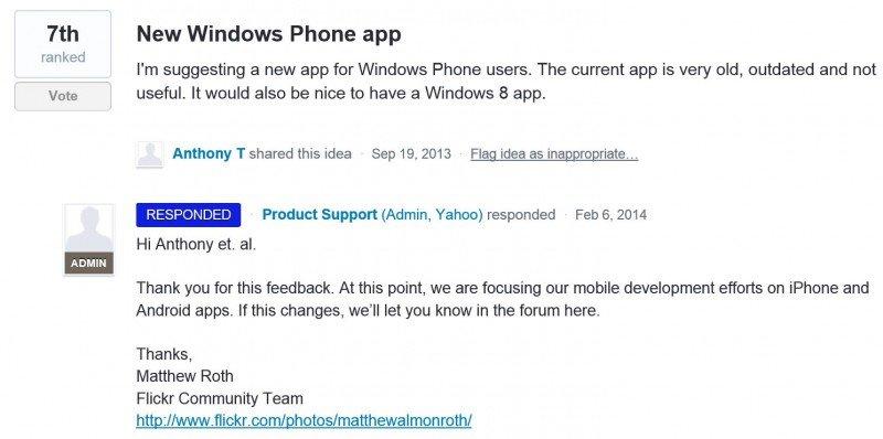 Aplicación Flickr para Windows Phone