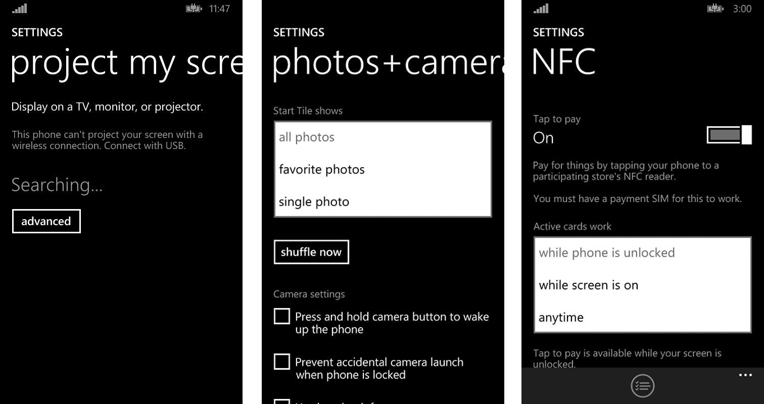 Compartir pantalla, Ajustes de Fotos y de NFC