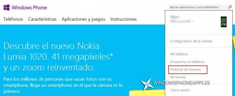 Historial de Compra Windows Phone