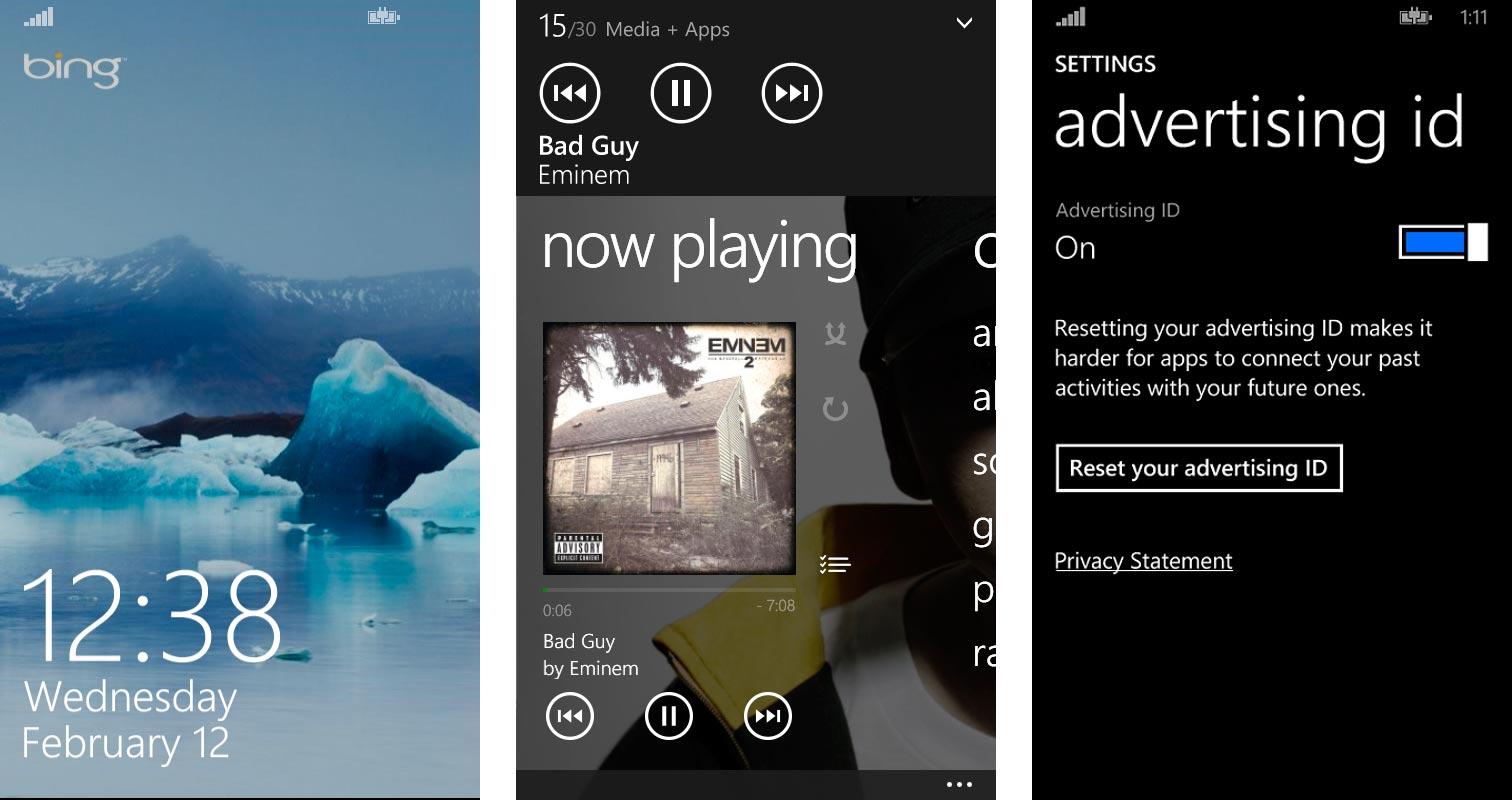 Pantalla de Bloqueo, Interfaz usuario de música e interfaz Advertising ID