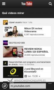Google actualiza Youtube Movil para Windows Phone