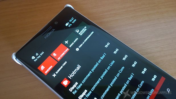 Action center en Windows Phone 8.1