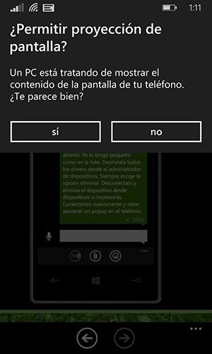 Pop Up Compartir pantalla con Windows Phone 8.1