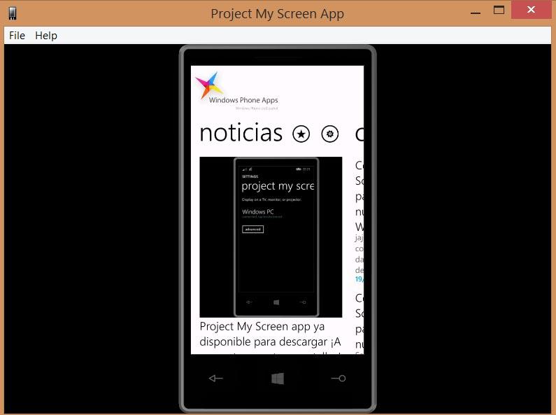 proyectar pantalla con Windows Phone