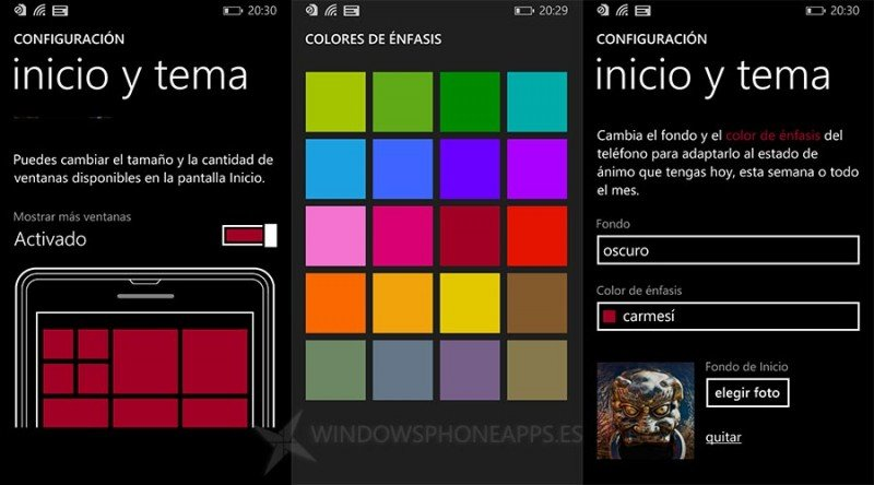 Pantalla de inicio en Windows Phone 8.1