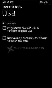 Aparece la configuración USB en Windows Phone 8.1