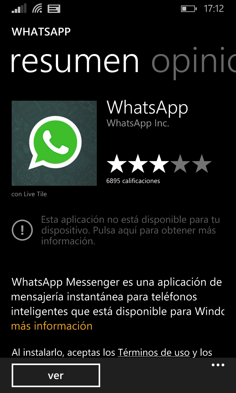 WhatsApp aparece como no disponible en la tienda Windows Phone