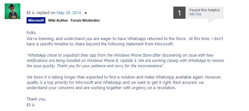 Microsoft y Whatsapp trabajan fuerte para devolver la aplicación a la Tienda Windows Phone