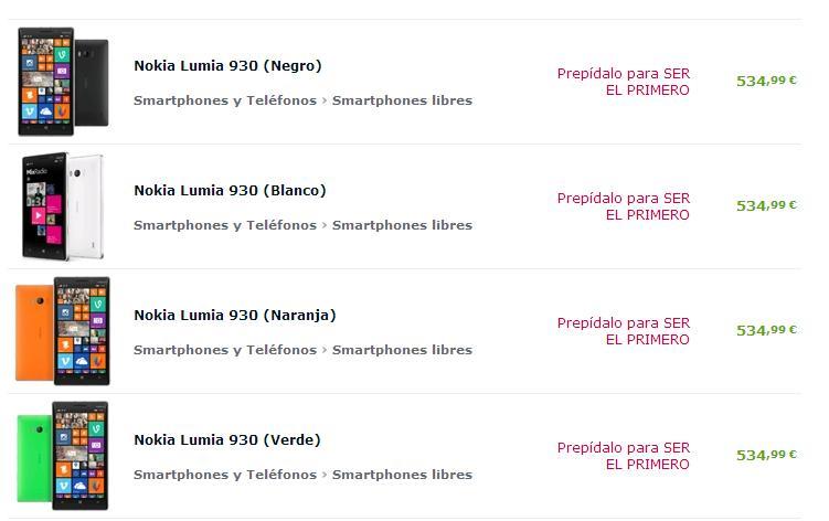 Lumia 930 prepedido en expansys