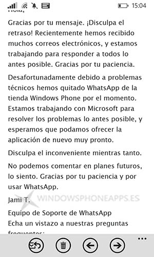 WhatsApp problemas técnicos en Windows Phone