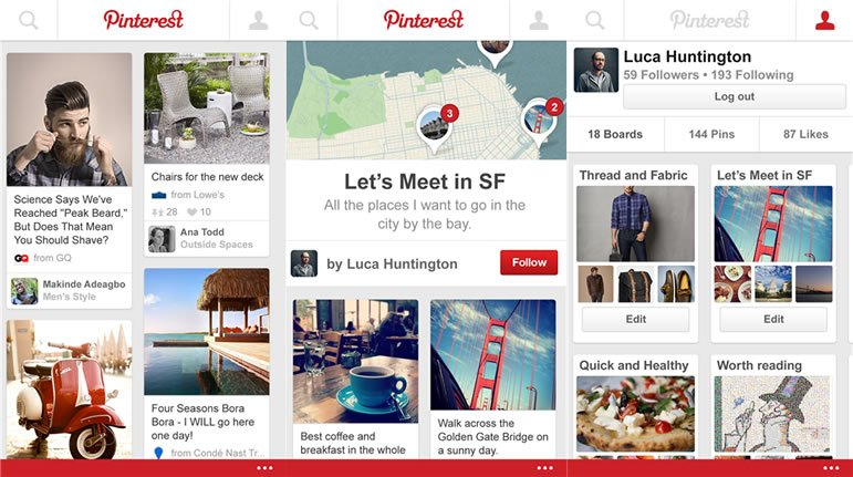 Pinterest para windows phone