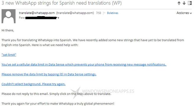 Traducción nuevas cadenas WhatsApp para Windows Phone