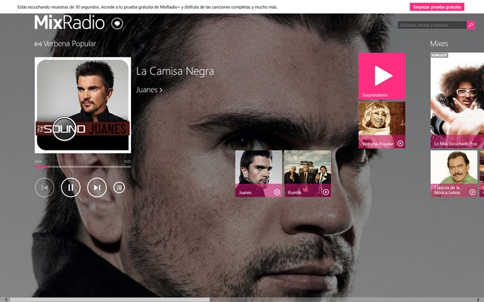 MixRadio para Windows 8