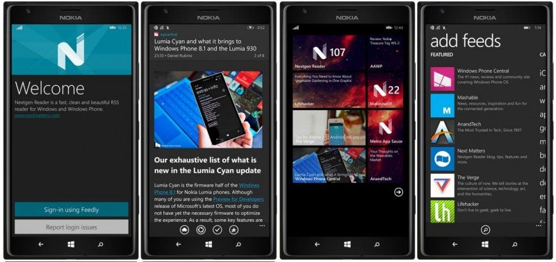 Nextgen Reader aplicación Universal