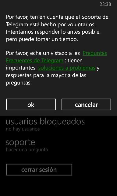 Soporte Telegram para Windows phone