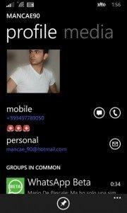 Nuevas opciones en el perfil de WhatsApp Beta