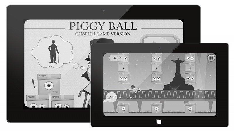 Piggy Ball, un divertido juego en honor a Charles Chaplin