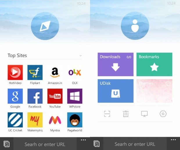Nueva interfaz de UC Browser 4.0 Beta