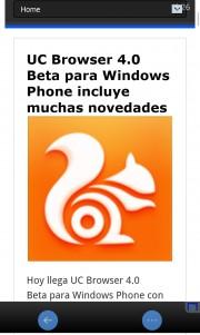 Artículo visto desde UC Browser 4.0 Beta