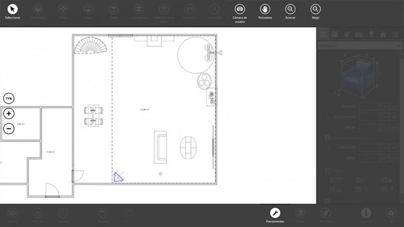 Opciones de cámara en el modo 2D con Live Interior 3D Pro
