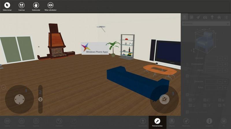 Opciones de cámara en el modo 3D con Live Interior 3D Pro