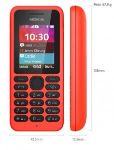 Dimensiones Nokia 130 Dual SIM